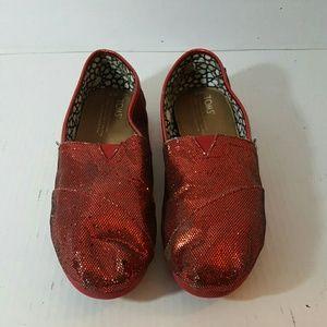 Toms Women's Slip-On Metallic Red 8W